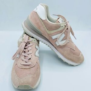New Balance 574 Retro Faded Rose Suede Sneakers